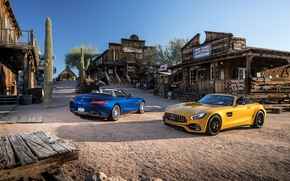 Картинка Mercedes, western, saloon, cactus, old west, Mercedes AMG GT, rustic environment