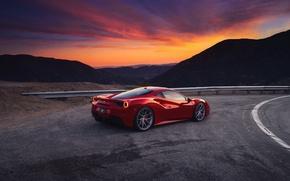 Обои закат, GTB, небо, вечер, 488, Ferrari, горы, red