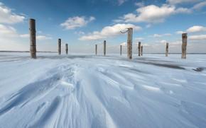 Обои лёд, снег, столбы