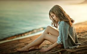 Обои море, побережье, девочка