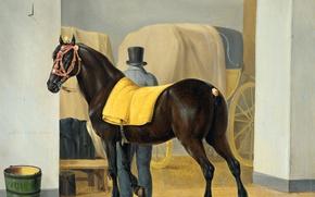 Обои животные, лошадь, масло, картина, холст, Энтони Оберман, Рысак в Конюшне