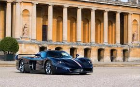 Картинка авто, отражение, Maserati, здание, Carbon, MC12