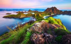 Картинка море, пляж, острова, горы, океан, скалы, берег