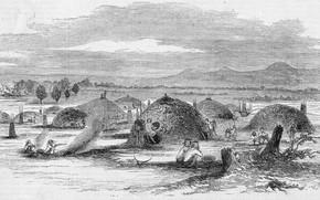 Картинка черно - белое, California. Illustration from Gleason's Pictorial, Native American 'rancheria' in Yuba City, 1852., …
