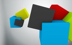 Картинка абстракция, краски, куб, грань, ребро