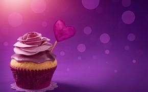 Картинка блики, фон, сердечко, День святого Валентина, крем, кекс, розочка, капкейк, сладось