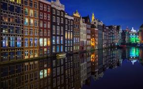 Картинка ночь, город, огни, Амстердам, канал, Нидерланды