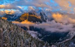 Картинка зима, небо, облака, свет, снег, горы, леса