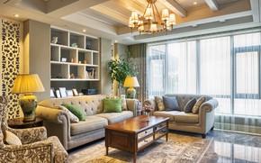 Картинка комната, диван, мебель, кресла, люстра, гостиная