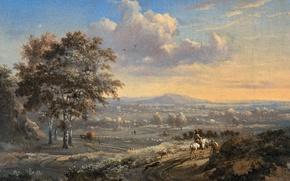 Обои Ян Вейнантс, масло, картина, Холмистый Пейзаж с Всадником на Проселочной Дороге, холст