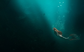Обои море, девушка, русалка, медузы, рыжеволосая
