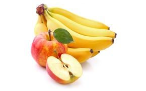 Картинка яблоки, желтые, бананы, белый фон, фрукты