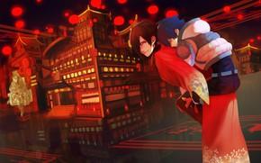 Картинка ночь, город, аниме, DRAMAtical Murder, Fanart, Koujaku, Pixiv, Fanart From Pixiv, Seragaki Aoba