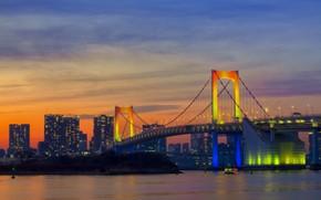 Картинка рассвет, утро, Tokyo, Japan, Rainbow Bridge