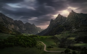 Обои дорога, облака, горы, долина, Норвегия