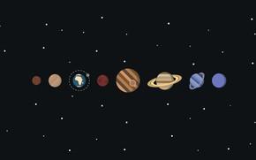 Обои солнечная система, вектор, планеты, космос, звезды