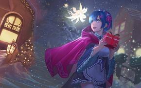 Картинка девушка, снег, украшения, подарок, звезда, фея, anime, art, новогодняя ёлка, rem, re zero kara hajimeru …