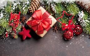 Обои gift, Рождество, fir tree, merry christmas, snow, Новый Год, decoration