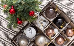 Картинка праздник, шары, игрушки, новый год, ель, украшение