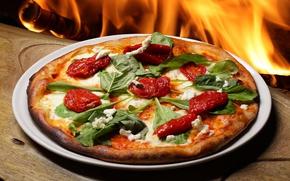 Картинка огонь, пицца, помидоры, руккола