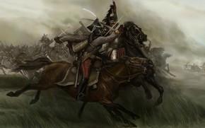 Картинка карандаш, Mount & Blade, арт, живопись, кавалерийский бой, гуашь, wallpaper., Napoleonic Wars, Warband, холст масло, ...