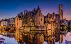Картинка ночь, мост, огни, отражение, дома, канал, Бельгия, Брюгге