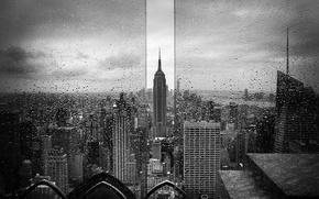 Картинка стекло, капли, город, дождь, США, Эмпайр Стейт Билдинг, Нью - Йорк, чёрно - белое фото