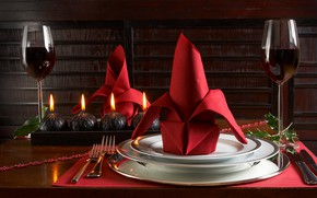 Картинка вино, Бокалы, тарелки, салфетка, Сервировка стола