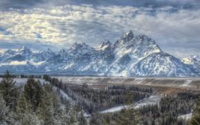 Картинка лес, горы, река, Вайоминг, Wyoming, Grand Teton National Park, Скалистые горы, Река Снейк, Snake River, …