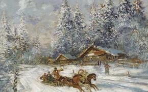 Обои зима, лошади, тройка, Константин Коровин, Troika Racing through the Snow