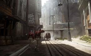 Картинка city, город, улица, игра, арт, стража, Dishonored, Arkane Studios, Dishonored 2, стелс-экшен
