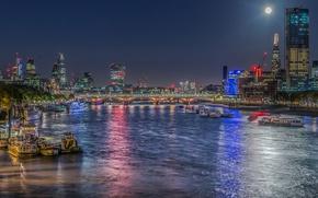 Картинка ночь, мост, огни, река, Англия, Лондон, Темза