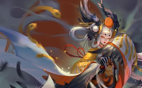Картинка girl, anime, power, fight, asian, japanese, kimono, oriental, asiatic, powerful, miko, onmyouji, asina