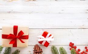 Картинка ягоды, Новый год, Украшения, Праздник, Шишки, Подарки, Ветки ели