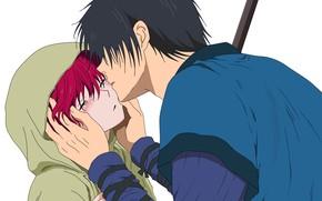 Картинка любовь, романтика, нежность, поцелуй, аниме, арт, akatsuki no yona, Хак, Йона