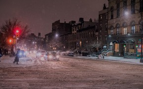 Картинка red, night, winter, new york, snow, street, new york city, nyc