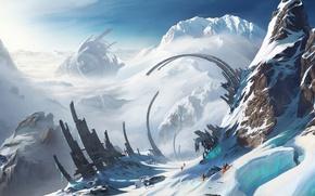 Картинка долина, гряда, скалы, Romain Lebouleux, ущелье, вершины, руины, путники, люди, romantically apocalyptic, романтика апокалипсиса, снег, ...