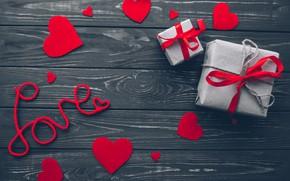 Картинка любовь, подарок, сердце, red, love, wood, romantic, hearts, Valentine's Day, gift, valentine