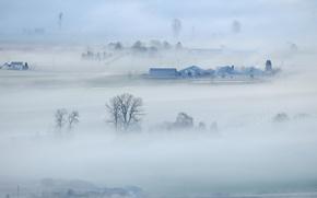Картинка природа, туман, долина