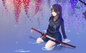 Картинка вода, катана, школьница, цветение, длинные волосы, ножны, isayama yomi, глициния, Ga Rei Zero, сидит на …