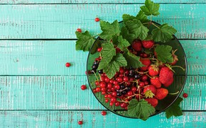 Картинка листья, ягоды, клубника, смородина, миска с ягодами