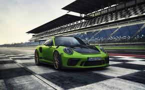 Картинка купе, 911 GT3 RS, 2018, ограждение, Porsche, асфальт, трибуны