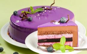 Картинка торт, мята, глазурь, голубика
