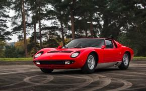 Обои Красный, Авто, Lamborghini, Ретро, Машина, 1969, Фары, Автомобиль, Суперкар, Miura, Lamborghini Miura, Итальянец, P400, Кузов, ...