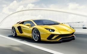 Обои 2017, Lamborghini Aventador S 4K, Car, Yellow, Super