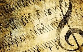 Картинка ноты, текстура, скрипичный ключ
