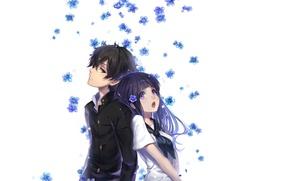 Картинка белый фон, школьная форма, art, незабудки, спина к спине, Hyouka, Oreki Hotaru, матроска, Eru Chitanda, …