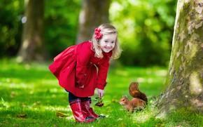 Картинка трава, радость, красный, фото, ребенок, девочка, плащ, белочка
