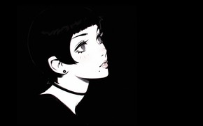Картинка лицо, стрижка, черно-белая, родинка, шея, челка, смотрит вверх, портрет девушки, Илья Кувшинов, чокер