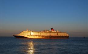 Картинка sea, ocean, sunset, seascape, sunlight, Queen Victoria, transatlantic, cruise ship